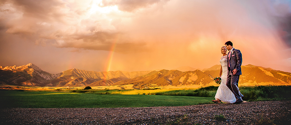 Bride & Groom Beneath a Dramatic Rainbow Sunset Montana Weddin